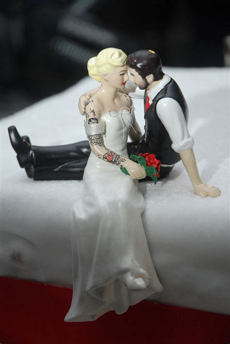 tattooed couple cake toppers tattooed wedding cake topper bride and groom tattoos