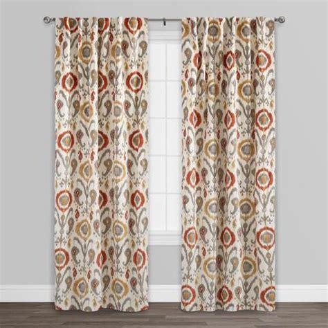 orange kitchen curtains sale orange ikat cotton concealed tab top curtains set of 2