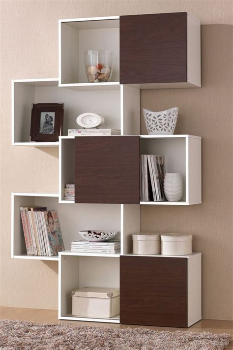 brown doors bookshelves and modern bookshelf on
