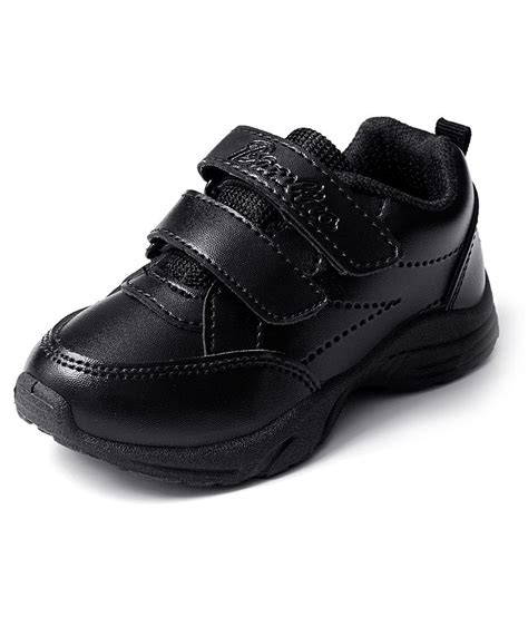liberty black faux leather school shoe for price in