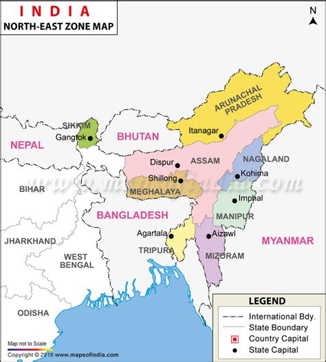 map of the northeast region states and capitals east india map seven of india