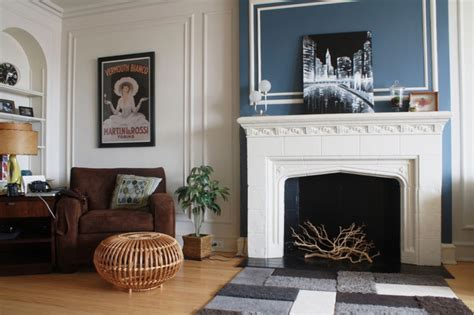 fireplace accent wall living room