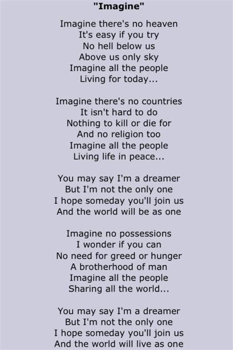 imagine lennon testo lennon song lyrics two in 2019 imagine lyrics