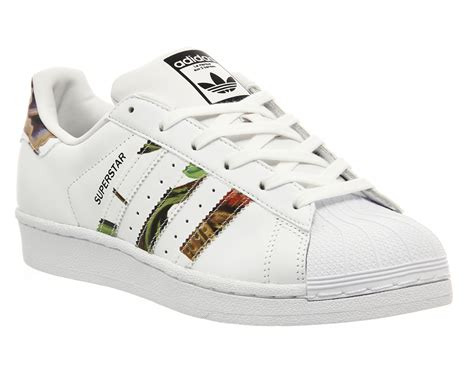 black and white patterned adidas trainers adidas superstar 1 white floral print w unisex sports