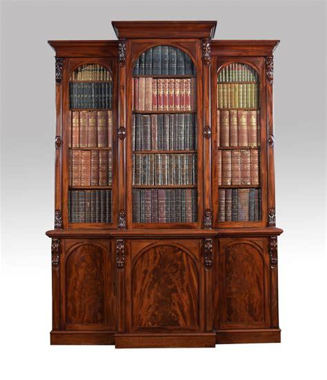 Antique Bookcase For Sale Victorian Mahogany Three Door Breakfront Bookcase 338530