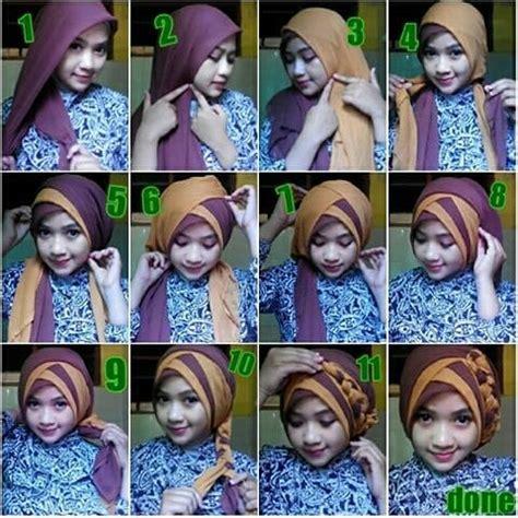 model jilbab segi empat   memakai simple modern
