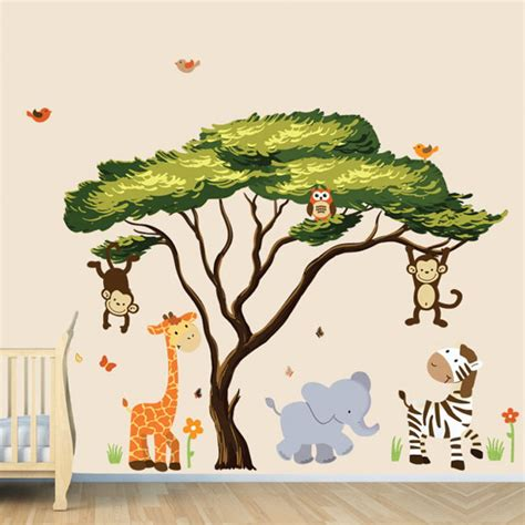 large african tree decal  jungle animal wall decals