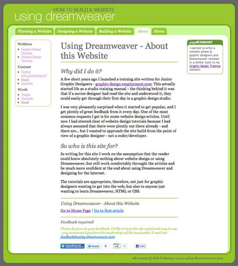 tutorial website using dreamweaver using dreamweaver a website training site for graphic