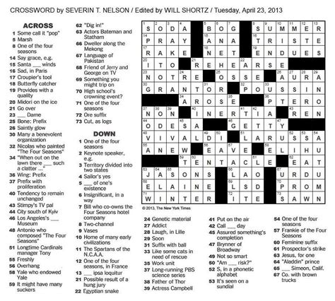 swing voter crossword the new york times crossword in gothic 04 23 13 the