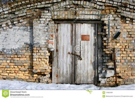 brick wall   wooden door royalty  stock