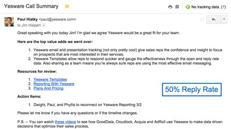 4 Sales Follow Up Email Sles With Templates Ready To Go Yesware Blog Follow Up Email Template