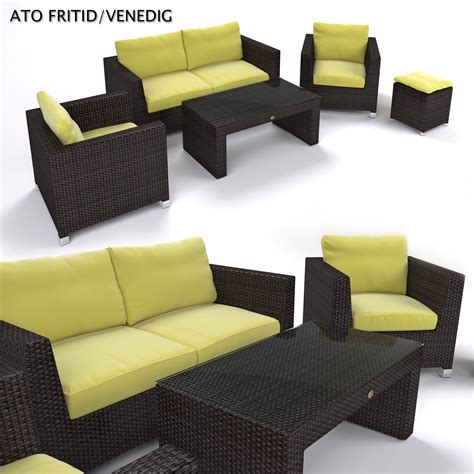 garden furniture synthetic rattan set 3d model