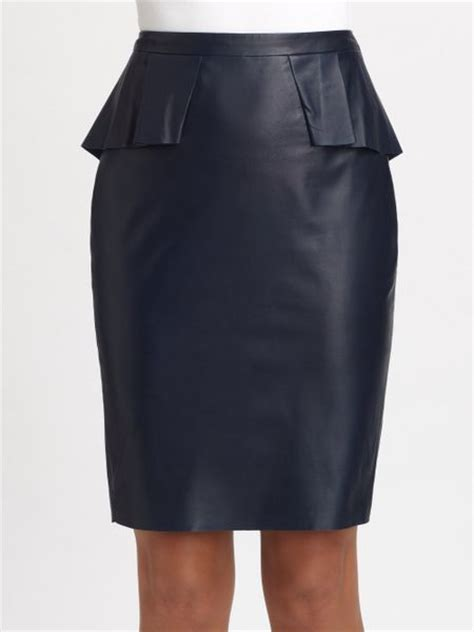elie tahari leather skirt in blue navy sapphire lyst