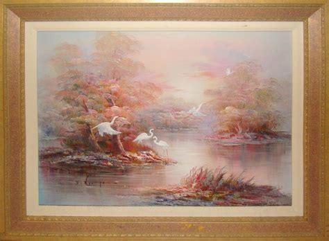 mid century modern oil painting   florida everglades