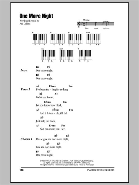 One More Night Sheet Music | Phil Collins | Piano Chords