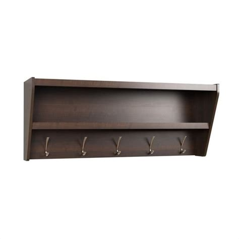Entry Shelf by Floating Entryway Shelf And Coat Rack In Espresso Eucw