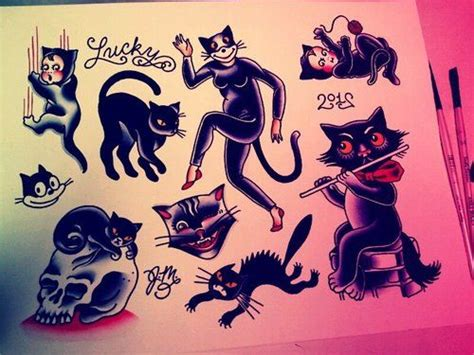 cat tattoo flash flash of the day traditional cats and traditional