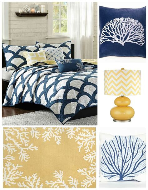 Navy Blue And Yellow Bedroom by Navy Blue And Yellow Coastal Bedroom Decorating Such A