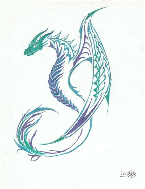 flying dragon tattoo designs colorful tribal flying design