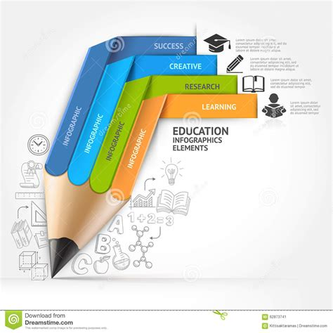 ed diagrams education pencil staircase infographics option stock
