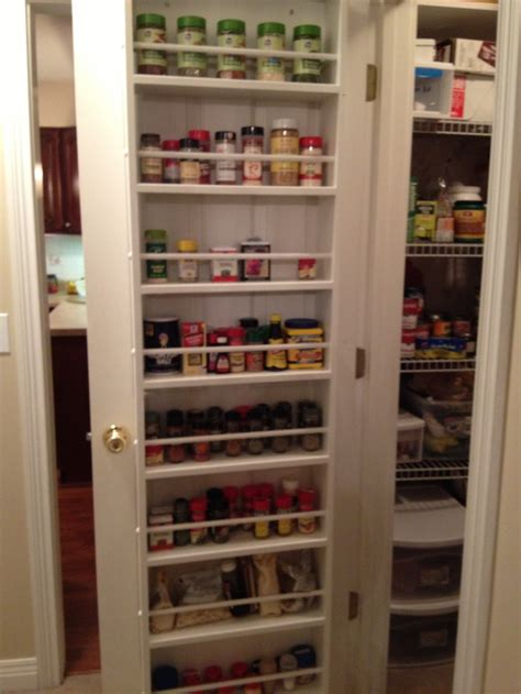 pantry door organizer behind the pantry door spice rack organization