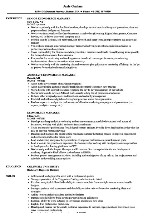 Ecommerce Resume by Ecommerce Manager Resume Annecarolynbird