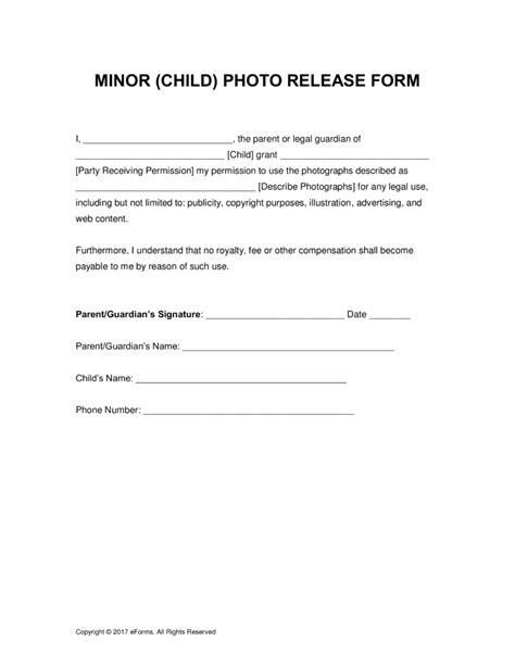 release form template for children free minor child photo release form pdf word