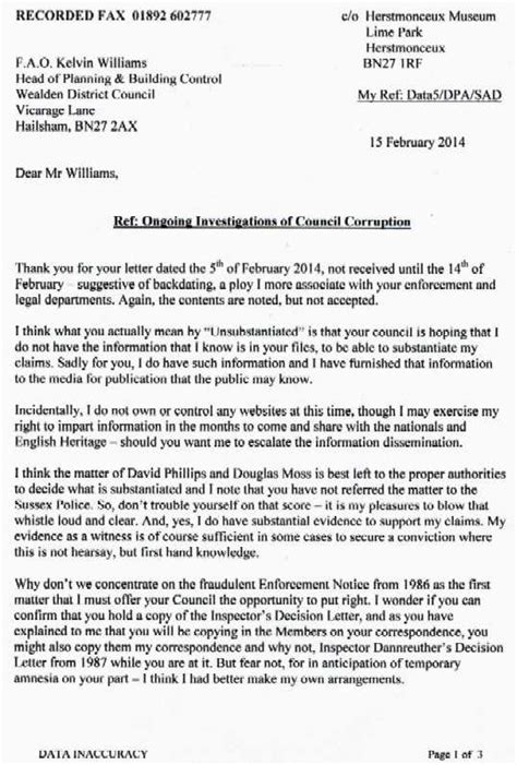 Complaint Letter To Council About Potholes Kelvin Williams Wealden District Council Planning Environmental Services