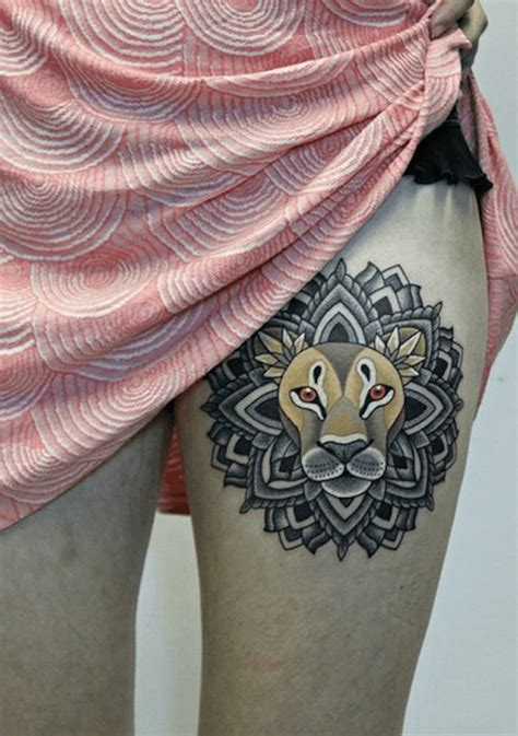 lion totem   meaningful tattoo design   mandala   mane ratta tattoo