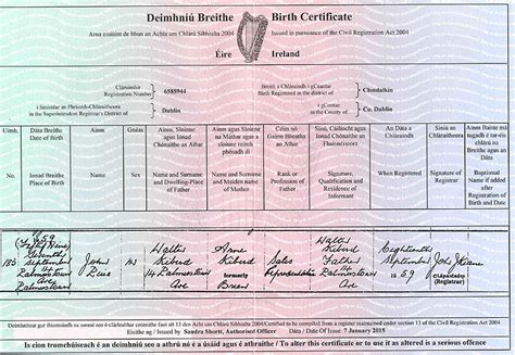 full birth certificate ireland john kiberd born 1959 dublin ireland family tree