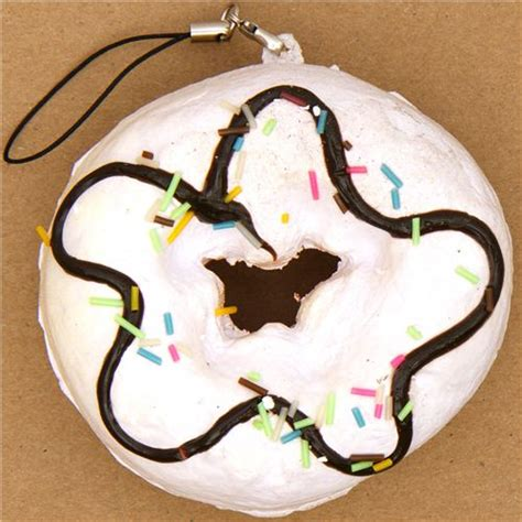 Toys Donuts Whitesugar white big donut squishy charm with colourful sprinkles
