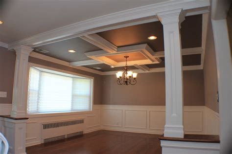 coffered ceiling and wainscott and custom columns