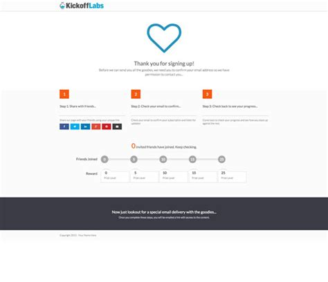 new landing page template step by step thank you page