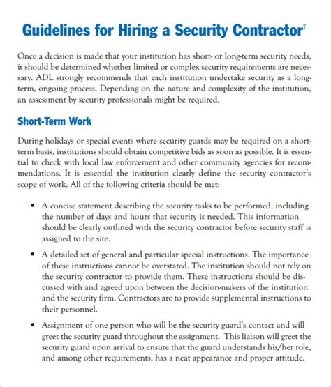 Tour Manager Description by Printable Security Guard Contracts Studio Design Gallery Best Design