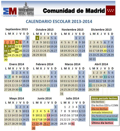 Calendario Escolar 2014 Es Por Madrid