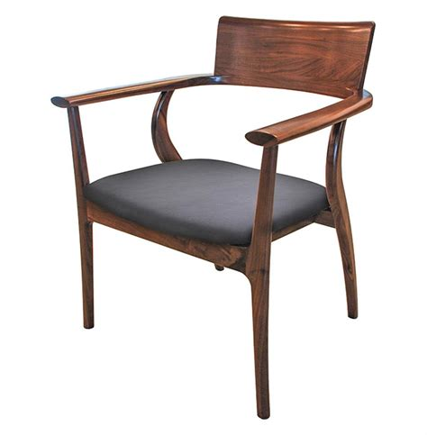 dining armchair alfie mid century modern walnut black leather dining arm chair