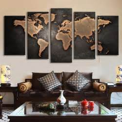 5 pcs set modern abstract wall art painting world map most luxurious living rooms 10605