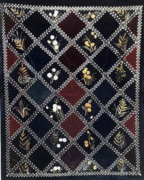 Velvet Quilt by Velvet Wildflowers And Grasses Embroidered Antique Quilt
