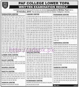 Essay General Election 2016 In Pakistan by Paf College Lower Topa Written Examination Test Results 2016 Of Successful Candidates