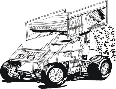 sprint car coloring page kidz korner