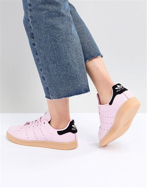 adidas originals stan smith sneakers in pink with gum sole asos