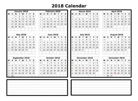 2018 weekly calendar template excel printable templates