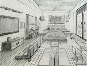 one point perspective fancy bed room drafting and design