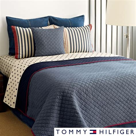 Chambray Bedding by Hilfiger Chambray 3 Cotton Reversible Quilt Set