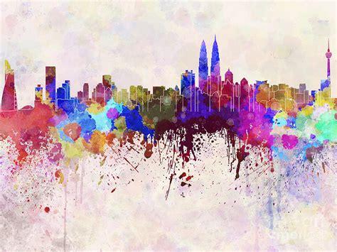 acrylic paint kuala lumpur kuala lumpur skyline in watercolor background digital