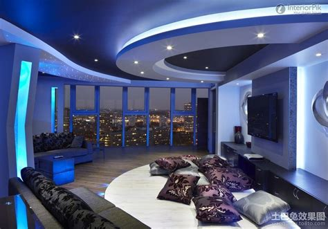 house design lighting ideas minimalist living room with gypsum ceiling blue lighting