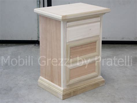 comodino legno grezzo comodini grezzi comodino grezzo 3 cassetti leonard