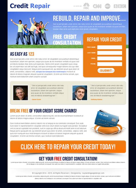 Credit Repair Templates Clean Landing Page Design For Best Conversion Leads Sales