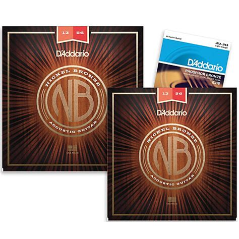 d addario ej16 phosphor bronze light acoustic guitar strings d addario nb1356 nickel bronze medium acoustic strings 2