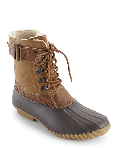 esprit whiskey brown fleece lined duck boots in brown lyst